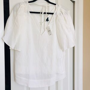 Ann Taylor White linen puffy sleeve blouse-NWT